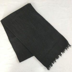 J.Crew classic black wool fringe scarf